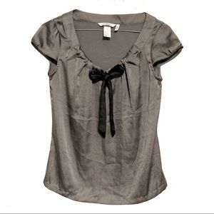 H&M Grey Silky Cap Sleeve Blouse with Black Tie 2